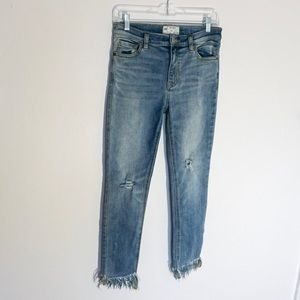Free People Distressed Frayed Hem Skinny Jeans 27